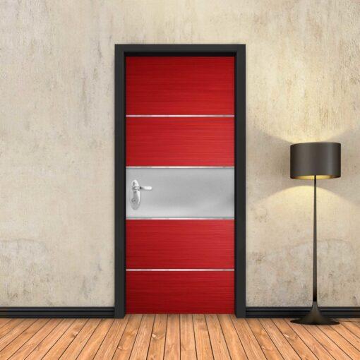טפט לדלת אדום פס מתכת