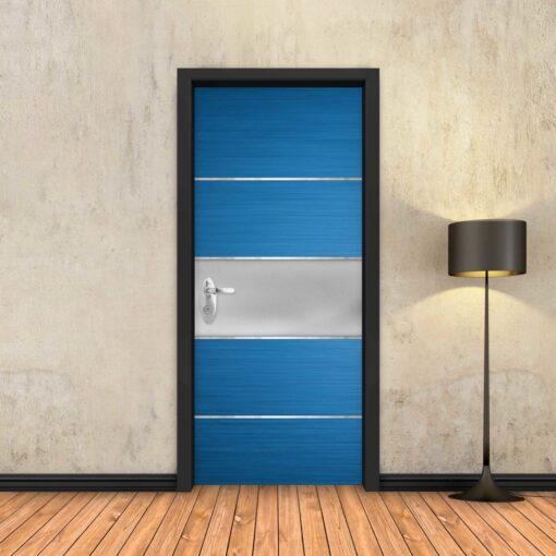 טפט לדלת כחול פס מתכת