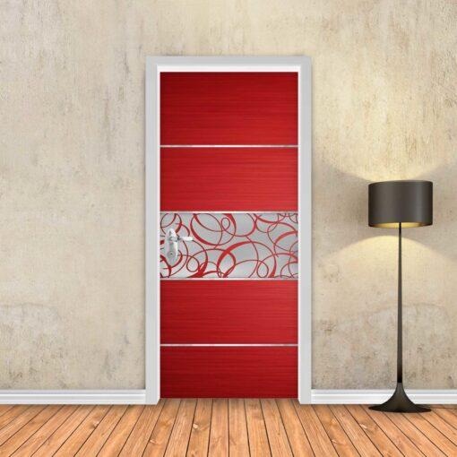 טפט לדלת פס מתכת מעוטר אדום