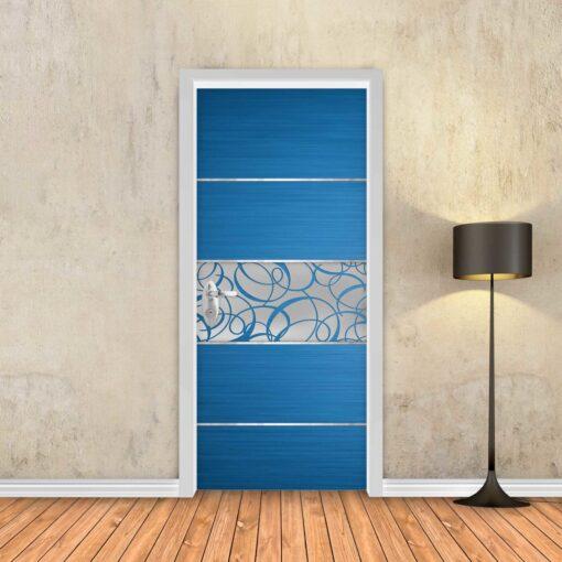 טפט לדלת פס מתכת מעוטר כחול