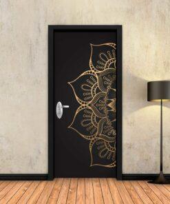 טפט לדלת מנדלה שחור זהב