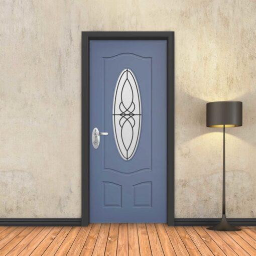טפט לדלת כחול חלון עגול