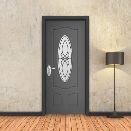 טפט לדלת אפור חלון עגול