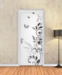 טפט לדלת מסולסל פרפרים לבן