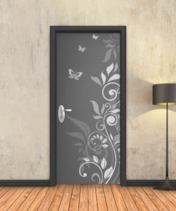 טפט לדלת מסולסל פרפרים אפור