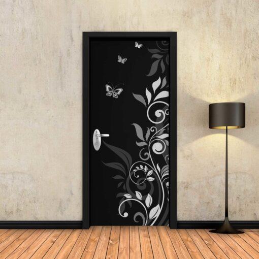 טפט לדלת מסולסל פרפרים שחור