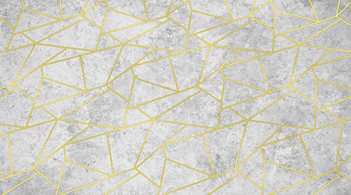 טפט גאומטרי לבן זהב