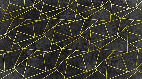טפט גאומטרי שחור זהב